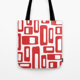 Retro Mid Century Modern Abstract Pattern 336 Red Tote Bag