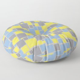 Yellow Gray Blue Funky Mosaic Pattern V8 Color of the Year 2021 Illuminating and Ultimate Gray Floor Pillow
