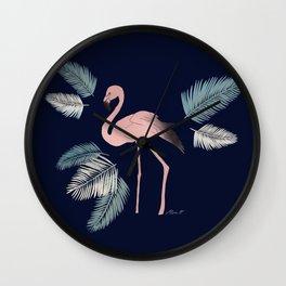 Flamingo on the Go! Dark blue. Wall Clock