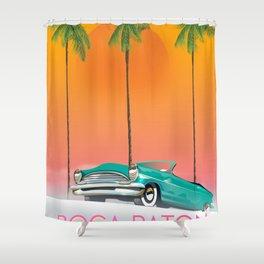 Boca Raton Florida travel poster Shower Curtain