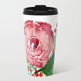 Watercolor Rose Wreath Travel Mug