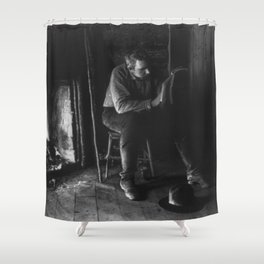 Vintage Adirondacks: Man Reading by the Fireplace Shower Curtain
