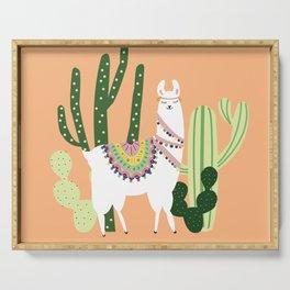 Cute Llama with Cactus Serving Tray