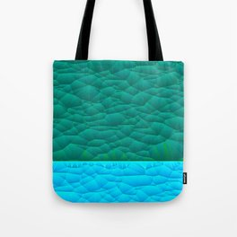 Quilted Sky Blue and Green Two Toned Pattern Tote Bag
