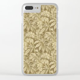 Vintage Taupe Leaves - Antique Leaf Design Clear iPhone Case