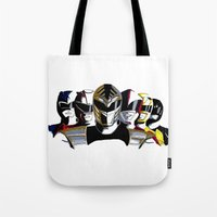 power rangers Tote Bags featuring Power Rangers by SquidInkDesigns