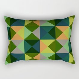 Oiwa - Colorful Green Decorative Abstract Art Pattern Rectangular Pillow