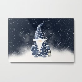 Winter Night Nordic Gnome Metal Print