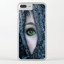 Big green eye in a blue tree Clear iPhone Case