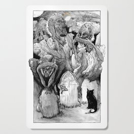 Three Wise Zombies Grayscale Cutting Board