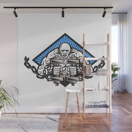 Strongman With Dumbbell In Chain Wall Mural