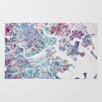boston Area & Throw Rugs featuring Boston map by MapMapMaps.Watercolors