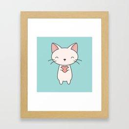 Kawaii Cute Cat With Heart Framed Art Print
