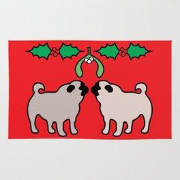 christmas pugs and kisses Rug