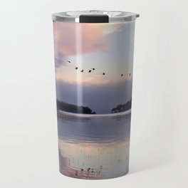 Uplifting II: Geese Rise at Dawn on Lake George Travel Mug