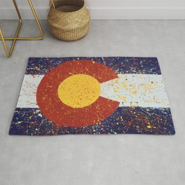 Splatter Colorado Flag Art Rug