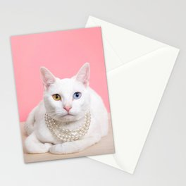 Kitty Sitting Pretty in Pearls Stationery Cards