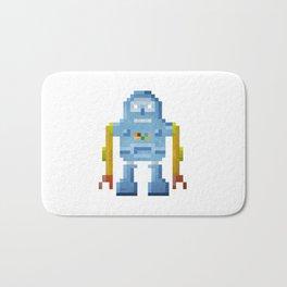 Blue pixel robot #1 Bath Mat