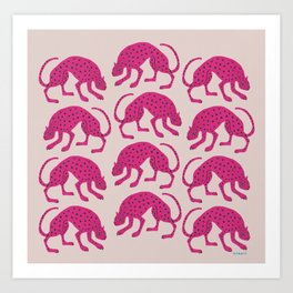 Wild Cats - Pink Art Print