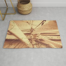 Vintage Nautical Sailing Typography in Sepia Rug