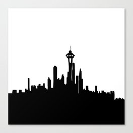 Seattle City Skyline in Black and white Canvas Print