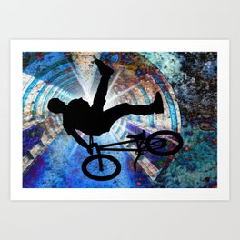 BMX in a Grunge Tunnel Art Print
