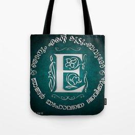 Joshua 24:15 - (Silver on Cyan) Monogram E Tote Bag