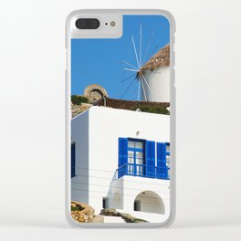 House and Windmill - Mykonos Island Greece Clear iPhone Case