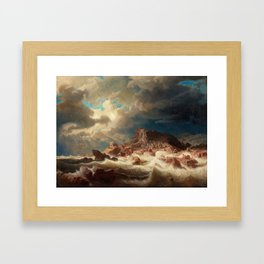 Marcus Larson - Stormy Sea With Ship Wreck Framed Art Print