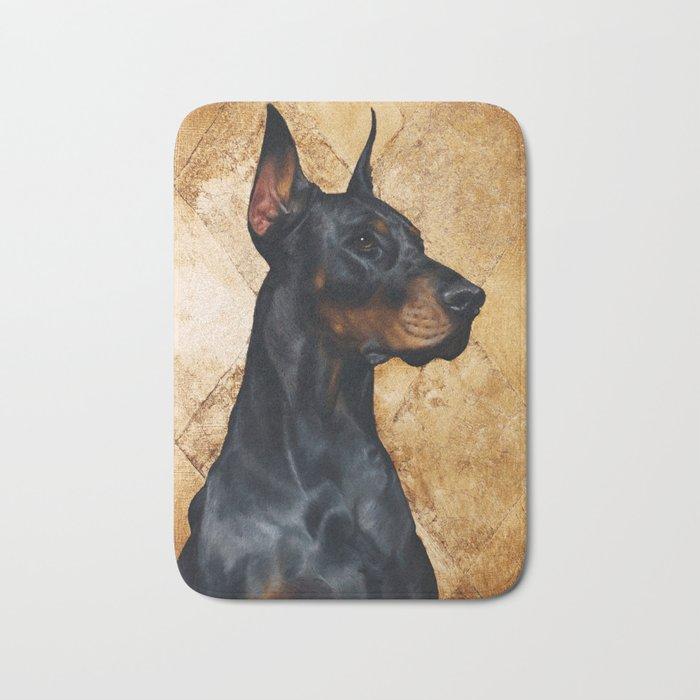 Black and Gold ( Doberman dog ) Bath Mat