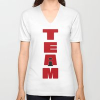 team fortress V-neck T-shirts featuring TEAM by Steel Graphics