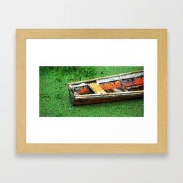 A Boat on Amazon Green Swamp  Framed Art Print