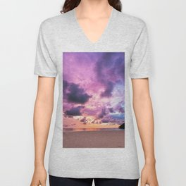 Colorful Majestic Sunset At Beach Borneo Unisex V-Neck