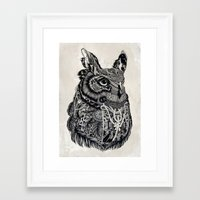 owl Framed Art Prints featuring Owl by Feline Zegers