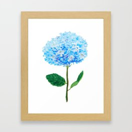 abstract blue hydrangea watercolor Framed Art Print