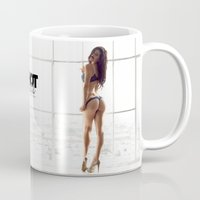 hot fuzz Mugs featuring MOVEMBER Mustache BABE from Hot Fuzz Babes in Mustache by HOT FUZZ Babes In Mustache