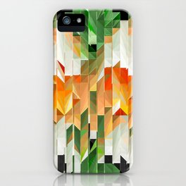 Geometric Tiled Orange Green Abstract Design iPhone Case