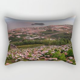 Azorean town at sunset Rectangular Pillow