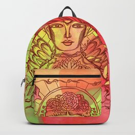 Frida Kahlo - monoprint-Red Backpack