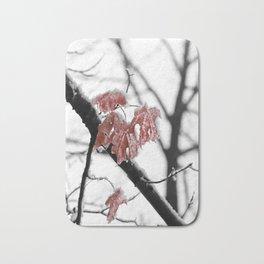 Scarlet Red Leaves in Winter Bath Mat