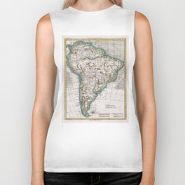 Vintage Map of South America (1780) Biker Tank