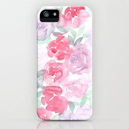 Pink and Purple Roses iPhone Case