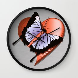 Beautiful butterfly and heart on polished metal textured background Wall Clock