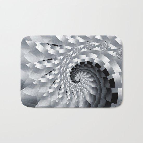 Bladed Black and White Spiral Bath Mat