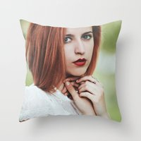 ginger Throw Pillows featuring Ginger by Jovana Rikalo
