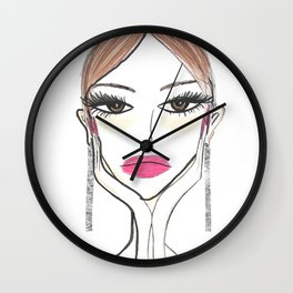 Another girl with the foil earrings Wall Clock