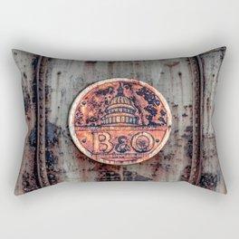 Rusted B&O Emblem Baltimore and Ohio Railroad Train Bridge Insignia Rust Rectangular Pillow