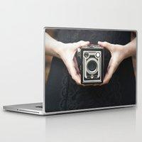 vintage camera Laptop & iPad Skins featuring Vintage Camera by Maria Heyens