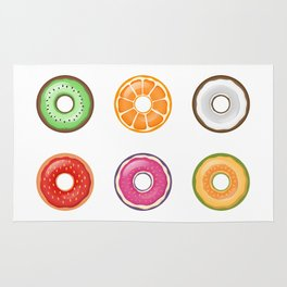 Colorful Fruit Donuts Collection Art, Sweet Fruity Donut Set, Delicious Large Printable Photography Rug