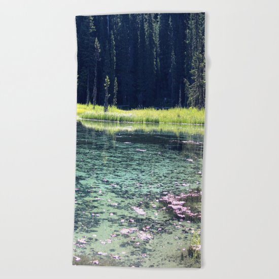 Pink and Teal Swamp Beach Towel